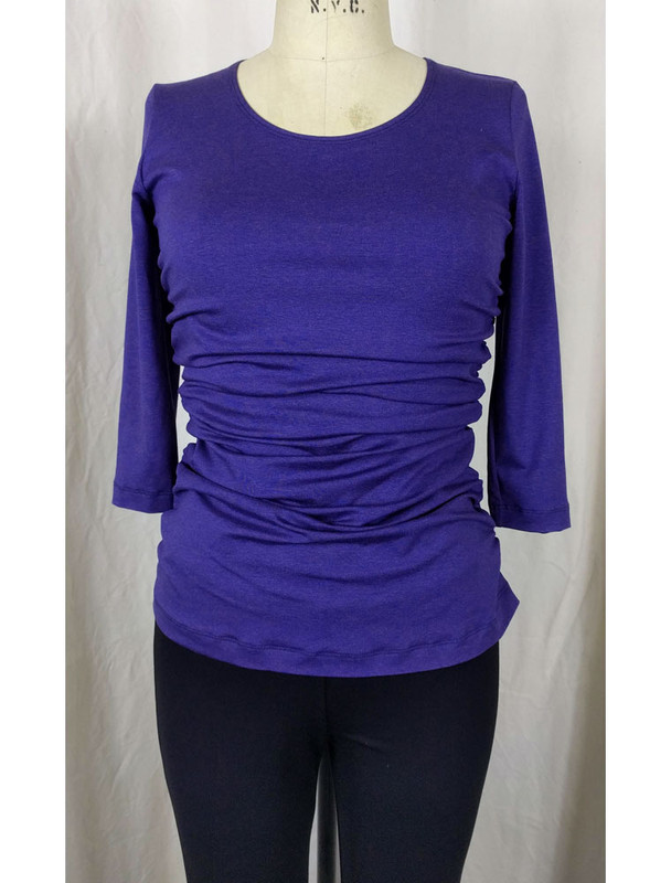 Rayon Jersey Rusched Scoop Neck Top Tulane Front