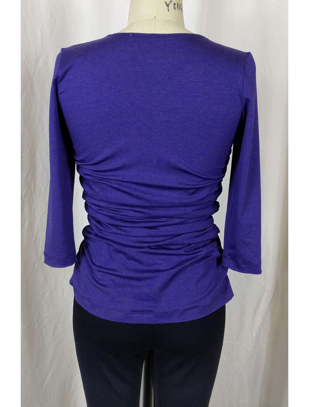 Rayon Jersey Rusched Scoop Neck Top Tulane Back