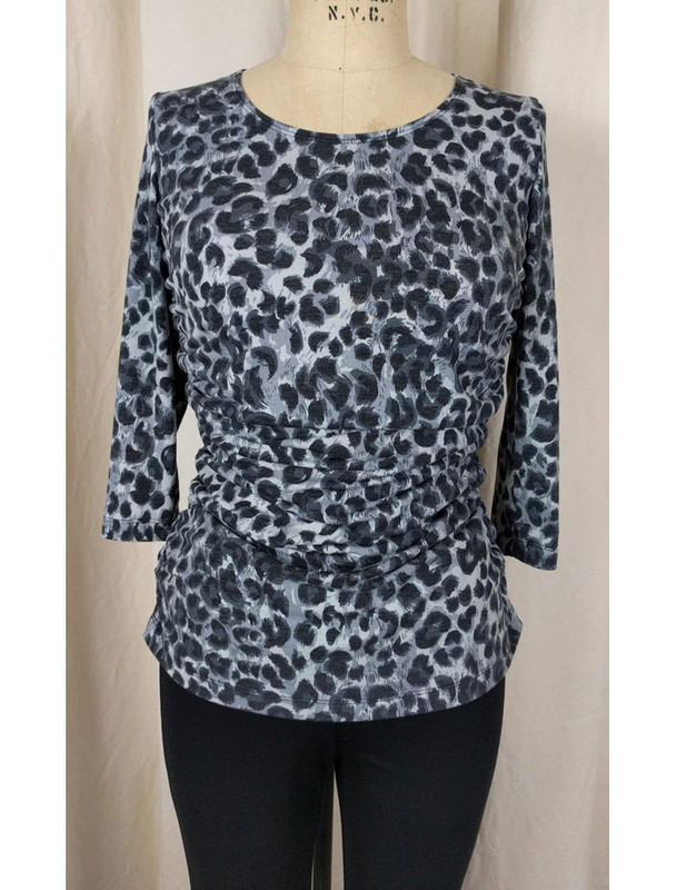 Rayon Jersey Rusched Scoop Neck Top Grey Cheetah Front