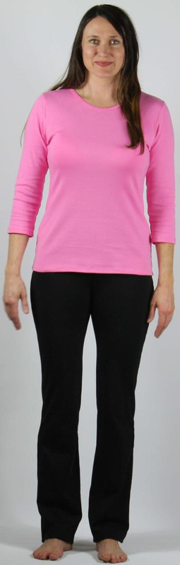"""Ponte knit straight leg slack.  Model is 5'8"""" and wearing a small."""