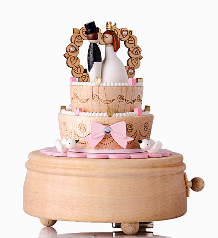Handmade Wooden Ribbon Wedding Cake Music Box