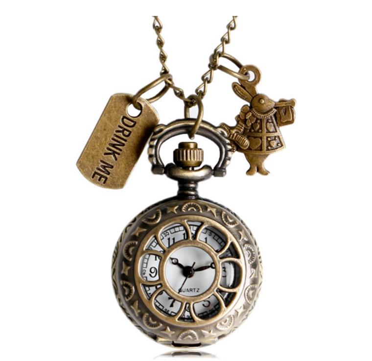 Alice In Wonderland Rabbit Flower Hollow Drink Me Pocket Watches Gift Women's