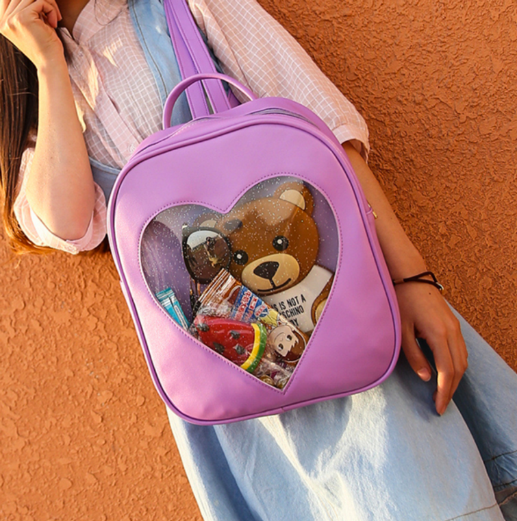 Kawaii Candy Transparent Heart Backpack ( Free Shipping )