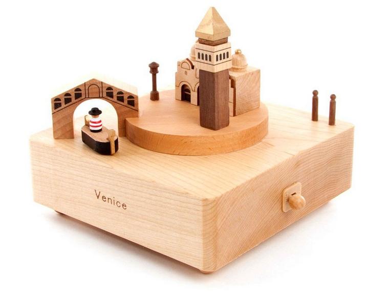 Handmade Wooden Venice Music Box