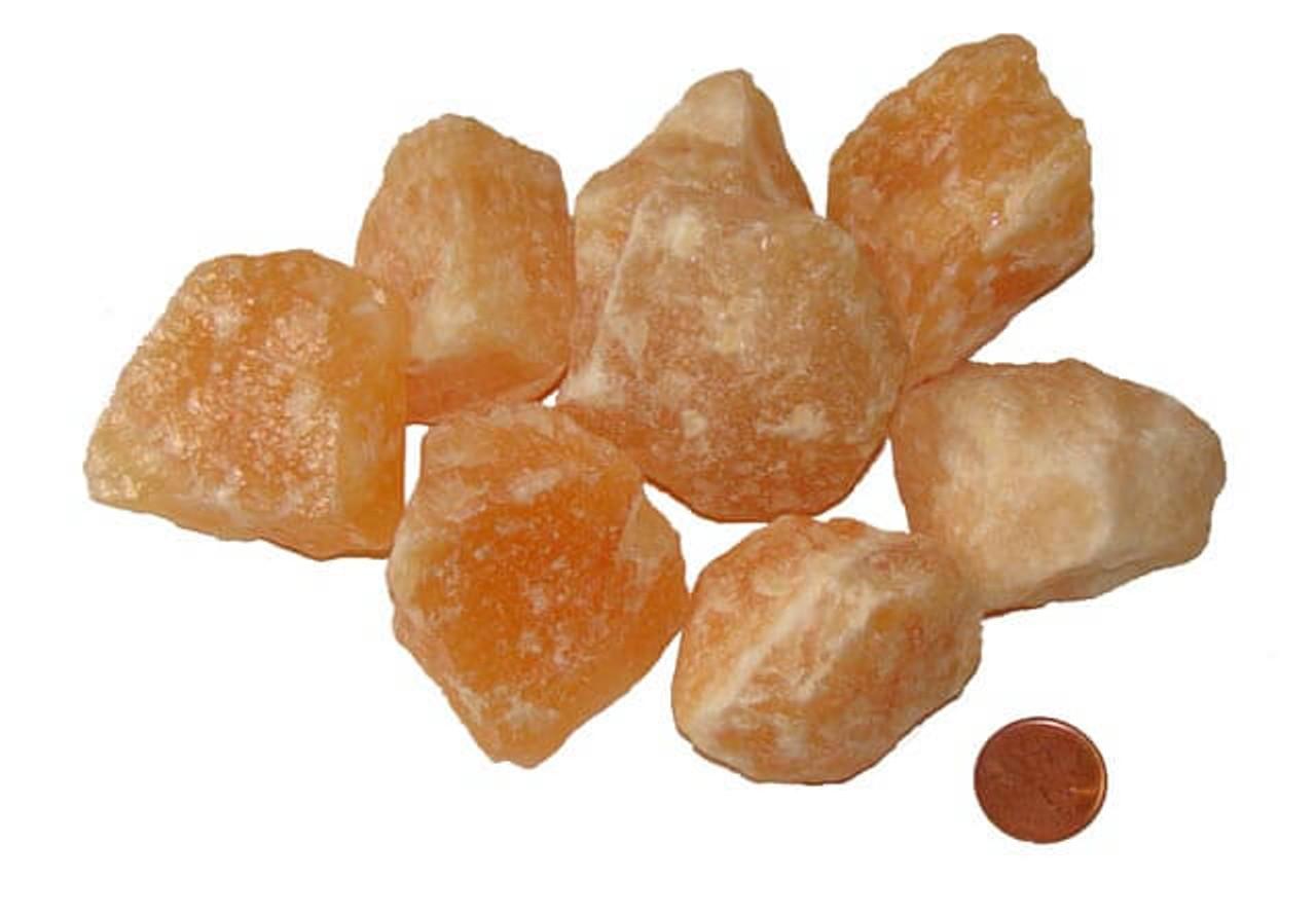 Orange Calcite Raw Stones, XXX Large, 60-74 grams, 1-1/2 to 2 inches