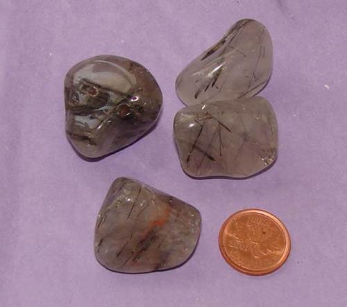 Tumbled Tourmalinated Quartz Stones - size large