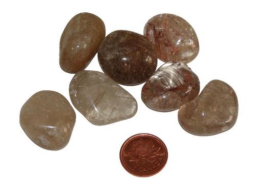 Rutilated Quartz Tumbled Stones, Extra Large, 20-24 grams, 1-1/2 inches
