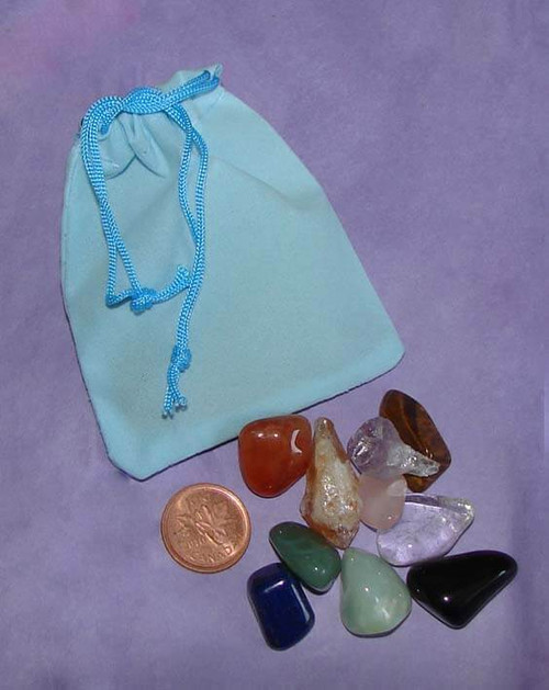 Set of the Best Stones & Crystals for Children in a turquoise velveteen pouch