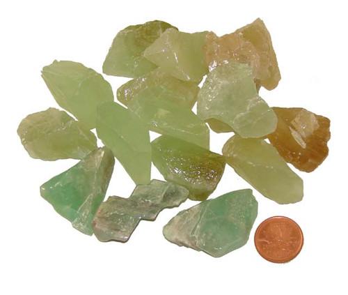 Rough Green Calcite  stones - Size Medium