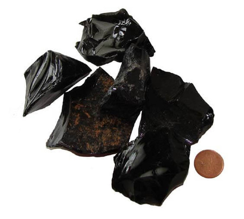 Raw Black Obsidian Stones - XX Large