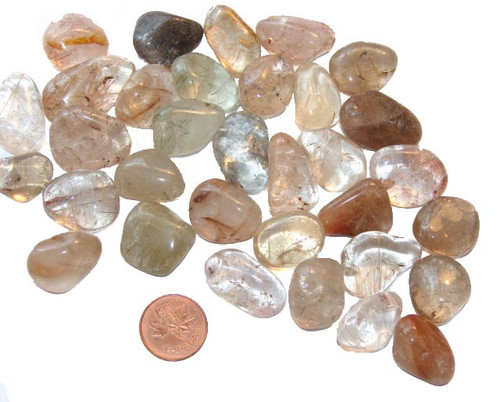 Tumbled Rutilated Quartz stones - size small
