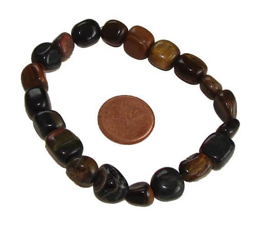 Gold tigers eye tumbled stone bracelet