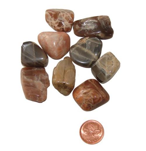 Tumbled Dark Moonstone stones - size medium
