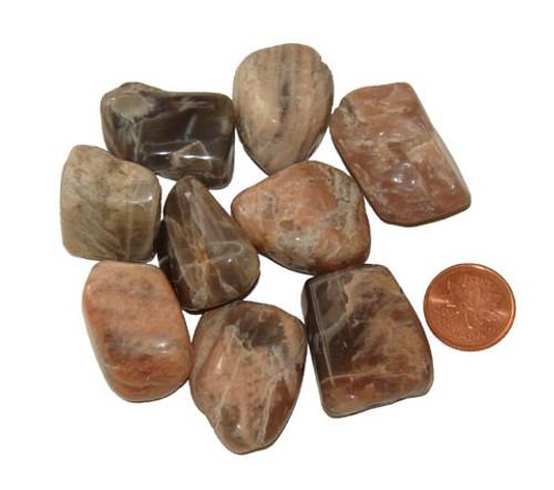 Dark Moonstone Tumbled Stones - large