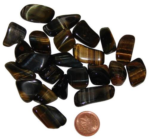 Tumbled Hawk Eye stones - size extra small