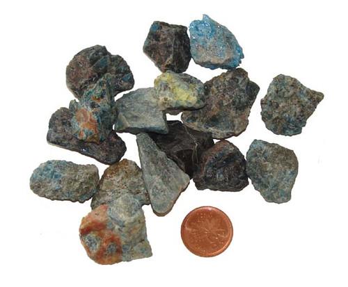 Raw Blue Apatite stones - size small