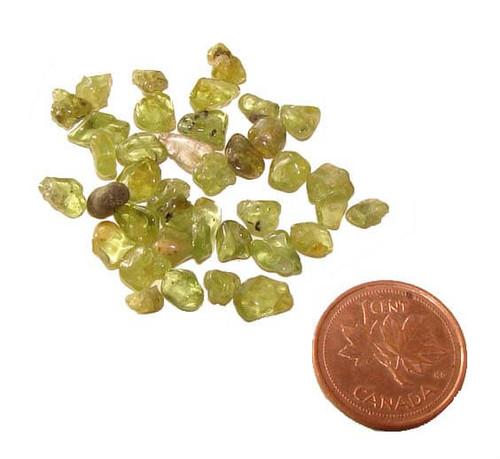 Tumbled Peridot chips - 5 grams
