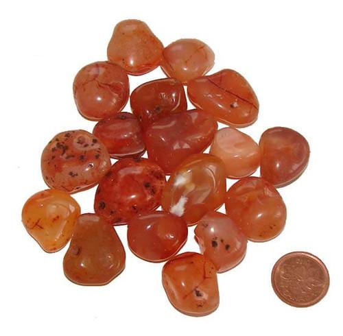 Carnelian tumbled stones - size small