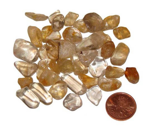 Tumbled natural Citrine stones - size teeny