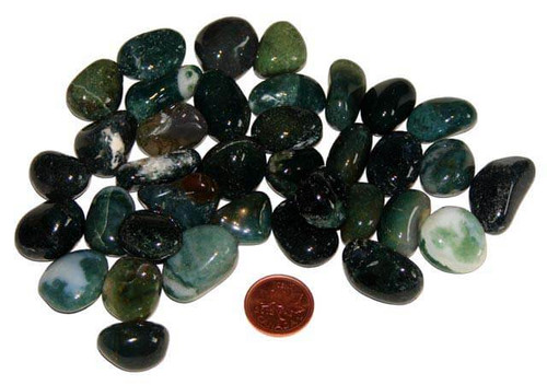 Tumbled Moss Agate Stones - size Small