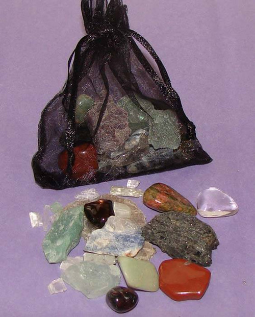 The Best Stones for Electromagnetic Smog and Geopathic Stress in a black organza pouch