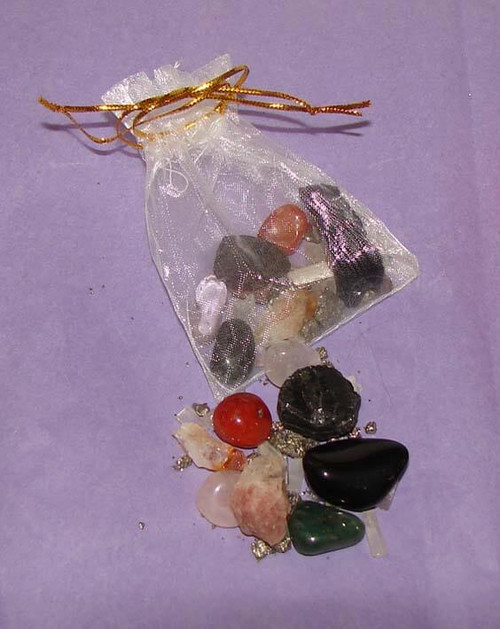 Set of the Best Stones for Clearing Negative Energy in a white organza pouch