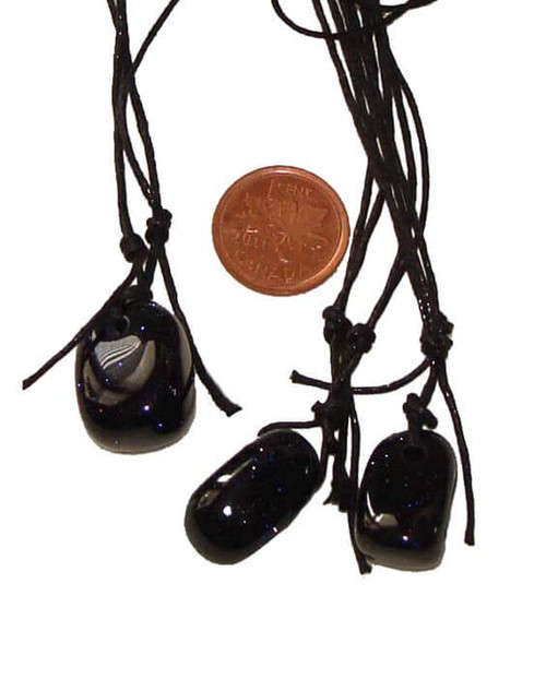 Blue Goldstone Tumbled Stone Pendants