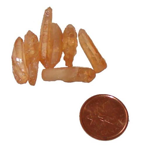 Tangerine Aura Quartz Crystals - 3/4 gram