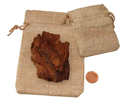 Ceremonial Tobacco shown with burlap pouches