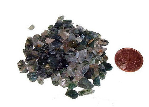 Green Moss Agate Chips from India, 28 grams