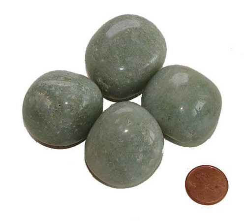 Green Aventurine Tumbled Stones, Gigantic, 50-69 grams, 1-1/4 to 1-3/8  inches