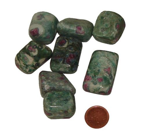 Tumbled Ruby Fuchsite stones - size extra large