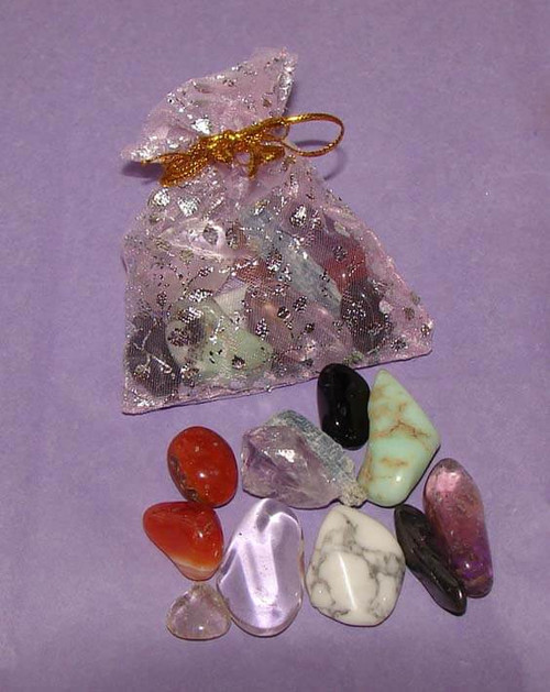 Set of the best crystals for meditation & mental stillness in a clear organza pouch