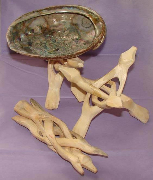 Wooden Tripod Stands, 6 inch, with abalone shell