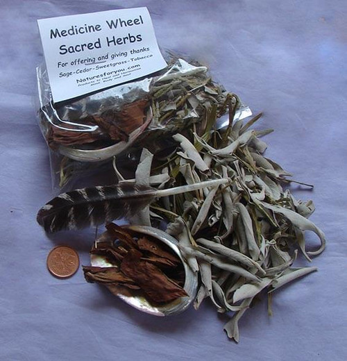 Medicine Wheel Sacred Herbs with small abalone shell & feather