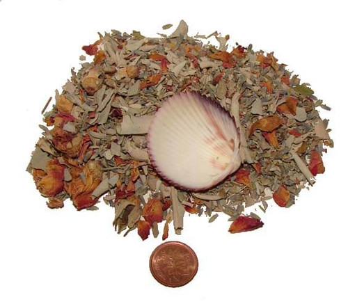 Smudge Mix Native American Herbs with small cockle shell