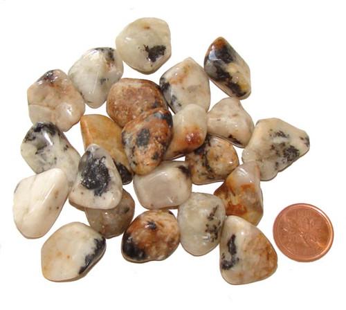 Tumbled Cassiterite in Quartz stones - size 4 grams