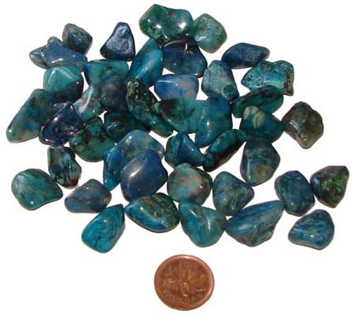 Tumbled Chrysocolla stones - size teeny