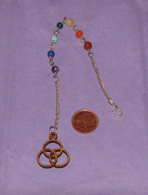 Celtic Wood pendulum with Chakra beads on chain