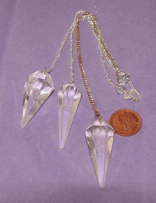 Pointed Clear Quartz Pendulums with Clear Quartz bead at end of chain