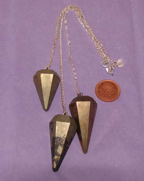 Pyrite pendulums for dowsing with Clear Quartz bead or nugget at end of chain