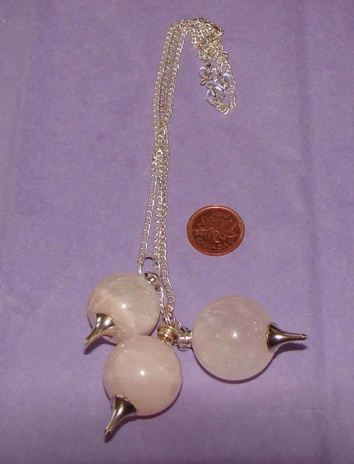 Rose Quartz ball & metal point pendulums with crystal bead at end of chain