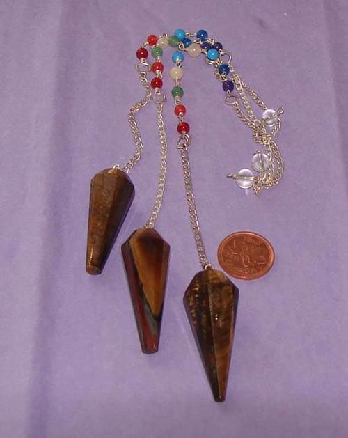Gold Tigers Eye Crystal Pendulum with Chakra Stone Beads