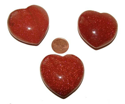 Red Goldstone Puffy Heart Shaped Stones