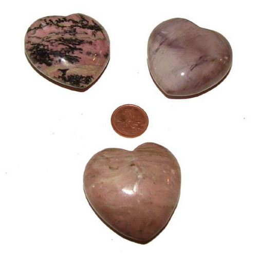 Rhodonite Puffy Polished Heart Shaped Stones