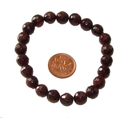 Garnet gemstone faceted round bead stretch bracelet