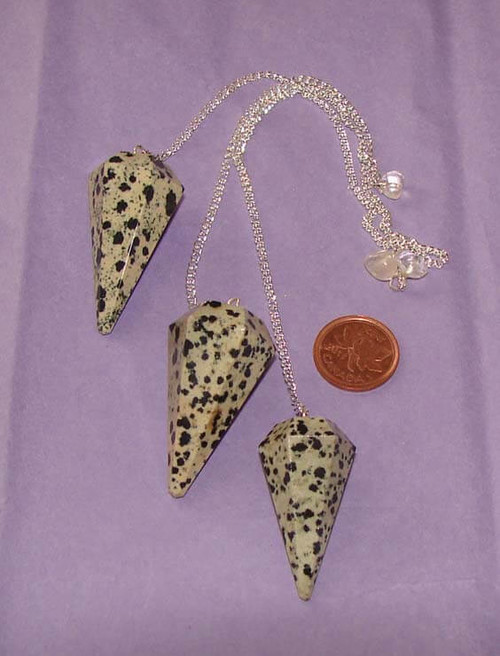 Dalmation Jasper 6-sided pointed pendulums with Clear Quartz nugget or bead at end of chain
