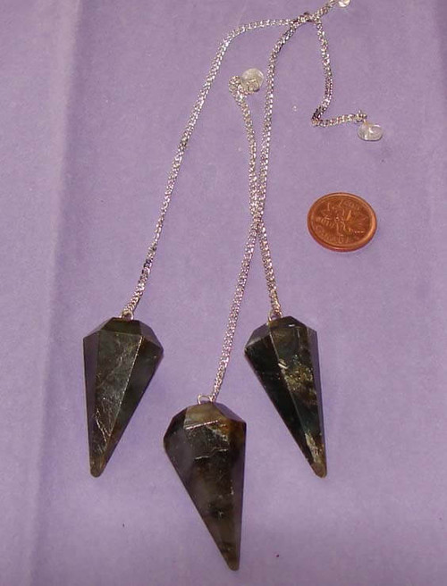 Labradorite 6-sided pointed pendulums with Clear Quartz nugget or bead at end of chain
