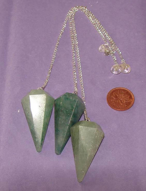 Light Green  6-sided pointed dowsing pendulums with Clear Quartz nugget or bead at end of chain