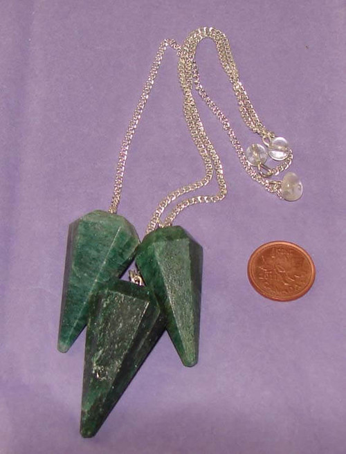 Dark Green Aventurine 6-sided pointed dowsing pendulums with Clear Quartz nugget or bead at end of chain
